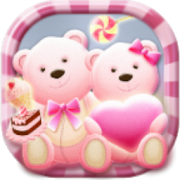 Cute Bear love  honey with Pink hearts DIY Theme  Latest Version Download