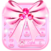 Pink SMS Keyboard Theme Diamond Ribbon  Latest Version Download