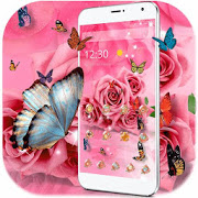 Butterfly Pink Rose Wallpaper APK